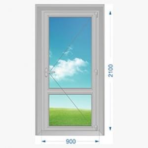 Дверь алюминиевая наружная одностворчатая с доп. окном сверху