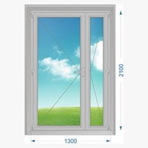 Дверь алюминиевая наружная двухстворчатая с узкой створкой