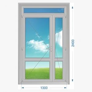 Дверь алюминиевая наружная двухстворчатая с узкой створкой и доп. окном
