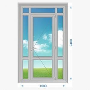 Дверь алюминиевая наружная одностворчатая с доп. окнами