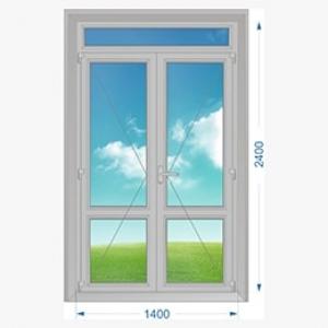 Дверь алюминиевая наружная двухстворчатая с доп. окном сверху