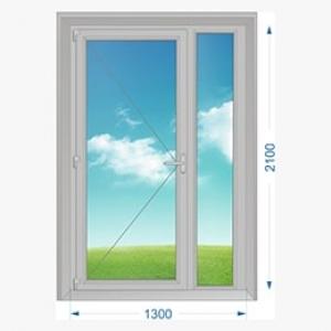 Дверь алюминиевая наружная одностворчатая с доп. окном