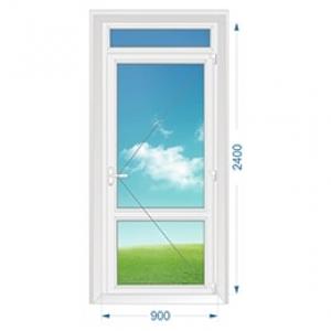 Дверь ПВХ наружная одностворчатая с доп. окном сверху