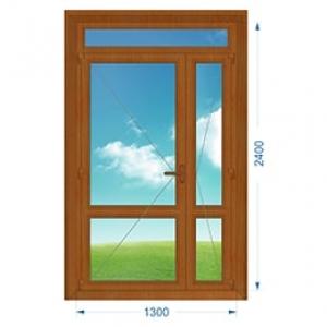 Дверь ПВХ наружная двухстворчатая с узкой створкой и доп. окном
