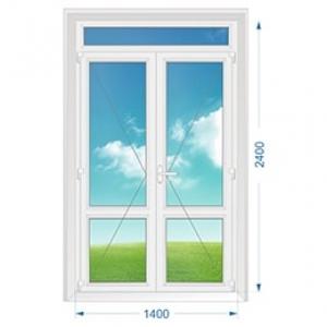 Дверь ПВХ наружная двухстворчатая с доп. окном сверху