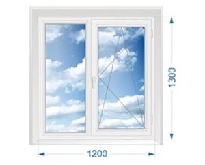 Окно для дачи двухстворчатое глухое, поворотно-откидное