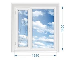 Окно для дачи двухстворчатое узкое поворотно-откидное, широкое глухое