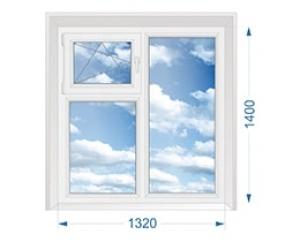 Окно для дачи двухстворчатое глухое с форточкой