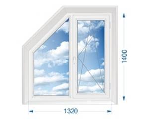 Окно для коттеджа двухстворчатое глухое со скошенным углом, поворотно-откидное