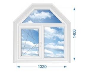 Окно для коттеджа двухстворчатое поворотно-откидное, глухое с окном-трапецией сверху