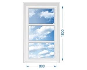Окно для коттеджа трехстворчатое глухое вертикальное