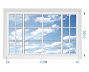 Окно для коттеджа трехстворчатое глухое со шпросами