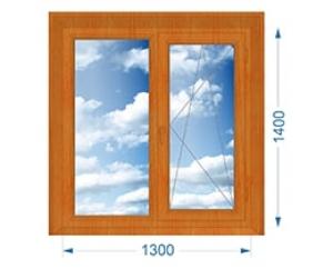Окно двухстворчатое глухое, поворотно-откидное с односторонней ламинацией