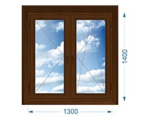 Окно двухстворчатое поворотное, поворотно-откидное с односторонней ламинацией