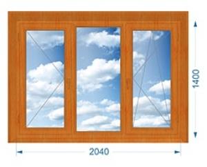 Окно трехстворчатое поворотное, глухое, поворотно-откидное с односторонней ламинацией