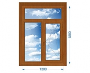 Окно Т-образное с одной поворотно-откидной створкой с односторонней ламинацией