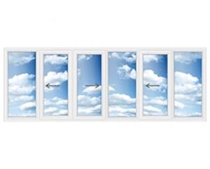 Алюминиевая балконная рама шестистворчатая