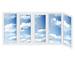 Алюминиевая балконная рама  пятистворчатая Г-образная