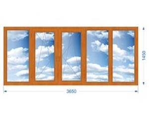 Балконная рама пятистворчатая с односторонней ламинацией