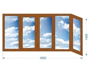 Балконная рама пятистворчатая Г-образная с односторонней ламинацией