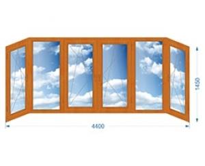 Балконная рама шестистворчатая П-образная с односторонней ламинацией