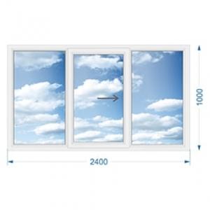Окно из алюминия трехстворчатое раздвижное